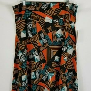 LuLaRoe Azure Skirt Blue Black Brown Geometric